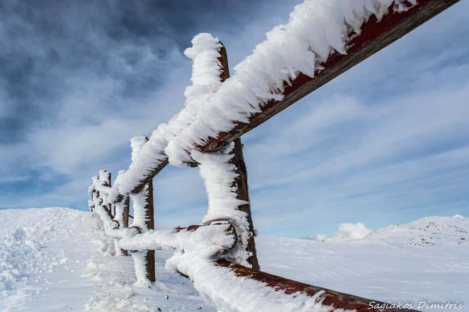Hard rime on wooden fence.. Chelmos mountain , Greece , March 2015.