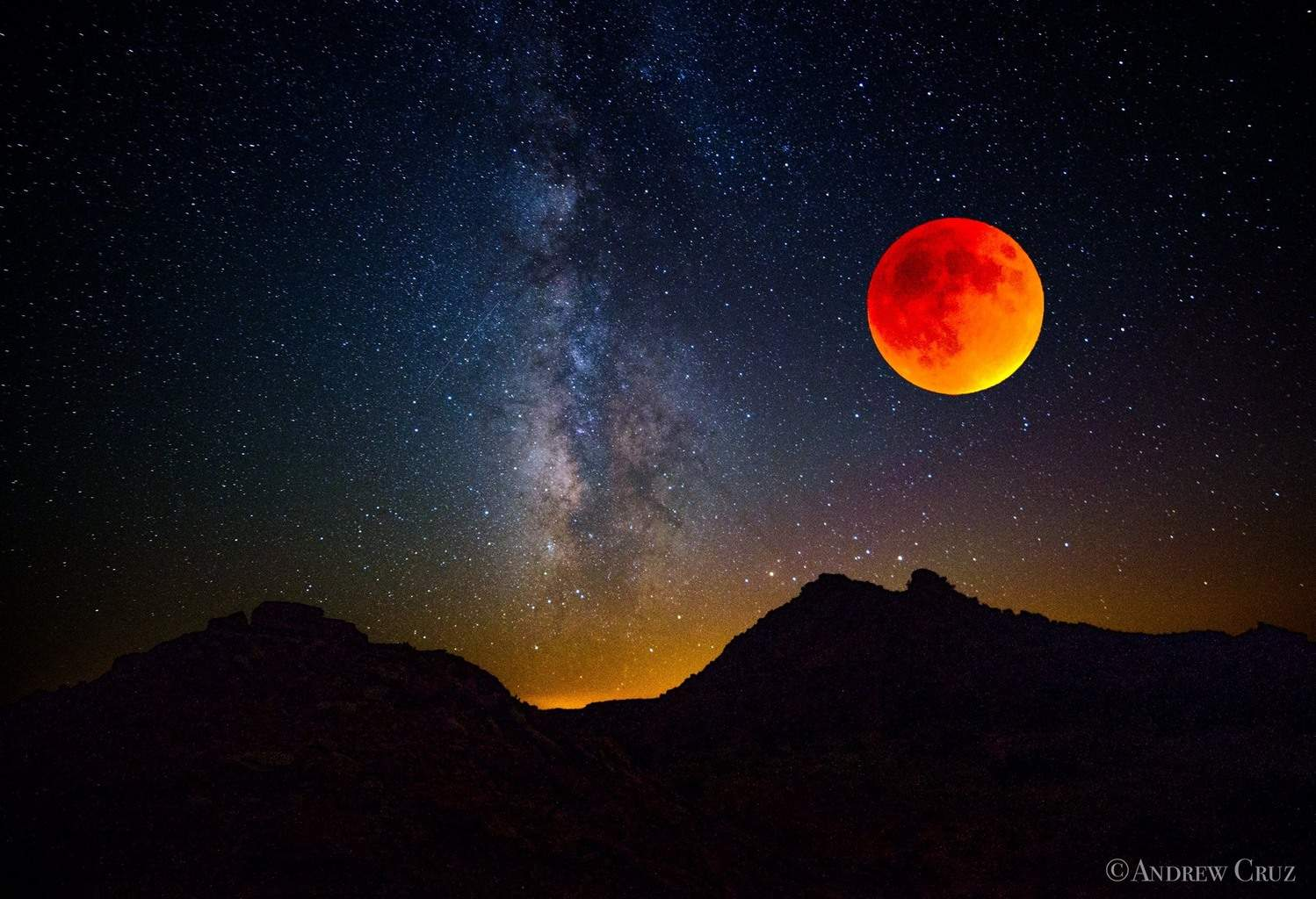 """I took this photo of the #SuperBloodMoon out at Caprock Canyon State Park in Quitaque, Tx. """"Super Blood Moon vs. Milky Way"""""""