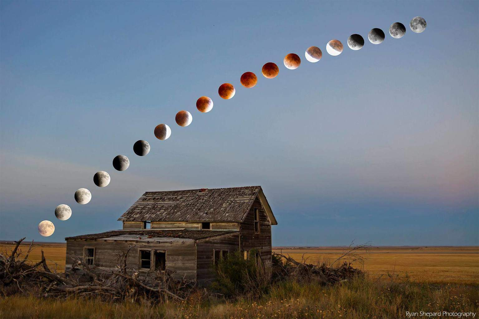Full composition of the Super Blood Moon Eclipse last night over an abandoned farmstead in Morgan County, Colorado