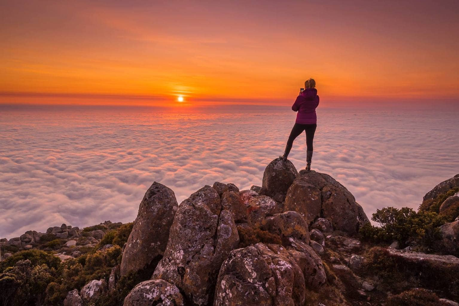 Thank you everyone for the kind comments on my first post to this group (the sunrise over a sea of clouds). I thought I'd share another shot from that same morning. It was quite a surreal experience being above the clouds as the sun rose - I've only experienced that from planes previously! View from Mt Wellington, which usually overlooks the city of Hobart (popn 200k) in Tasmania, Australia. I like to think that the city is still sleeping cosily, wrapped up in this oversize fluffy blanket!