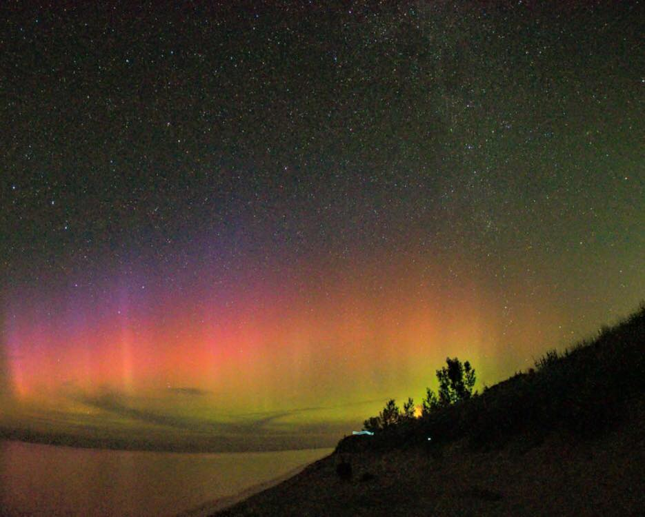 The Aurora Borealis (Northern Lights) Taken on Aug 5, 2015 at Little Sable Point along Lake Michigan.