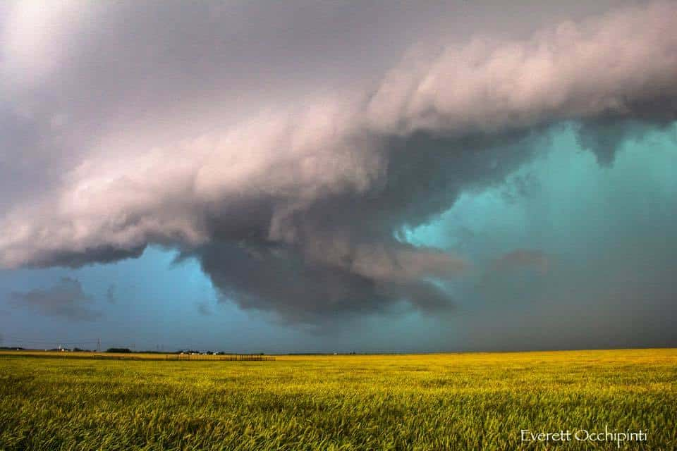 """Do Not Enter"" ~ Bright green core of a wicked looking supercell storm in Vernon, Texas on May 8th of this year."