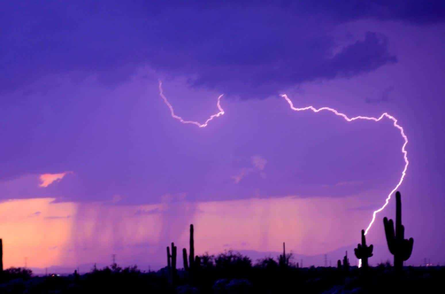 Sunset desert lightning. Apache Junction AZ.