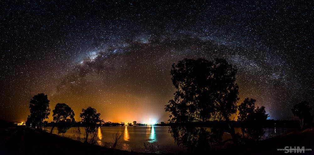 Still waiting for storms here so here is a Milky Way pano consisting of 24 images from my D800e. Was impressed that the town lights didn't over power the Milky Way.