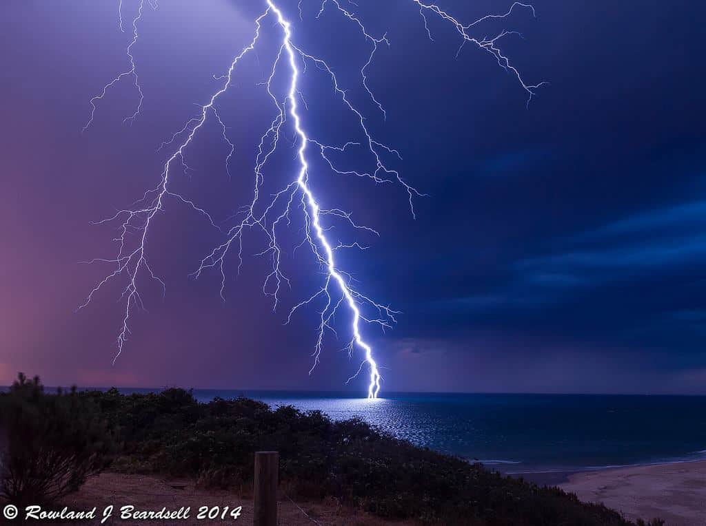One of my favourites from 2014 - Taken on 26th October from South Port Beach, Adelaide, South Australia as a series of active elevated thunderstorms erupted in the early evening producing prolific and frequent branchy bolts such as this one. Interesting feature near the base of the stirke where it splits into three.