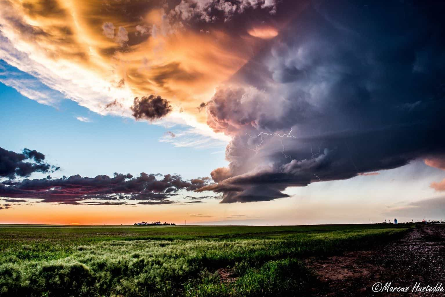 LP storm in western Nebraska this past June as a dynamic sunset develops....this was by far the best sunset I have seen in 2015.
