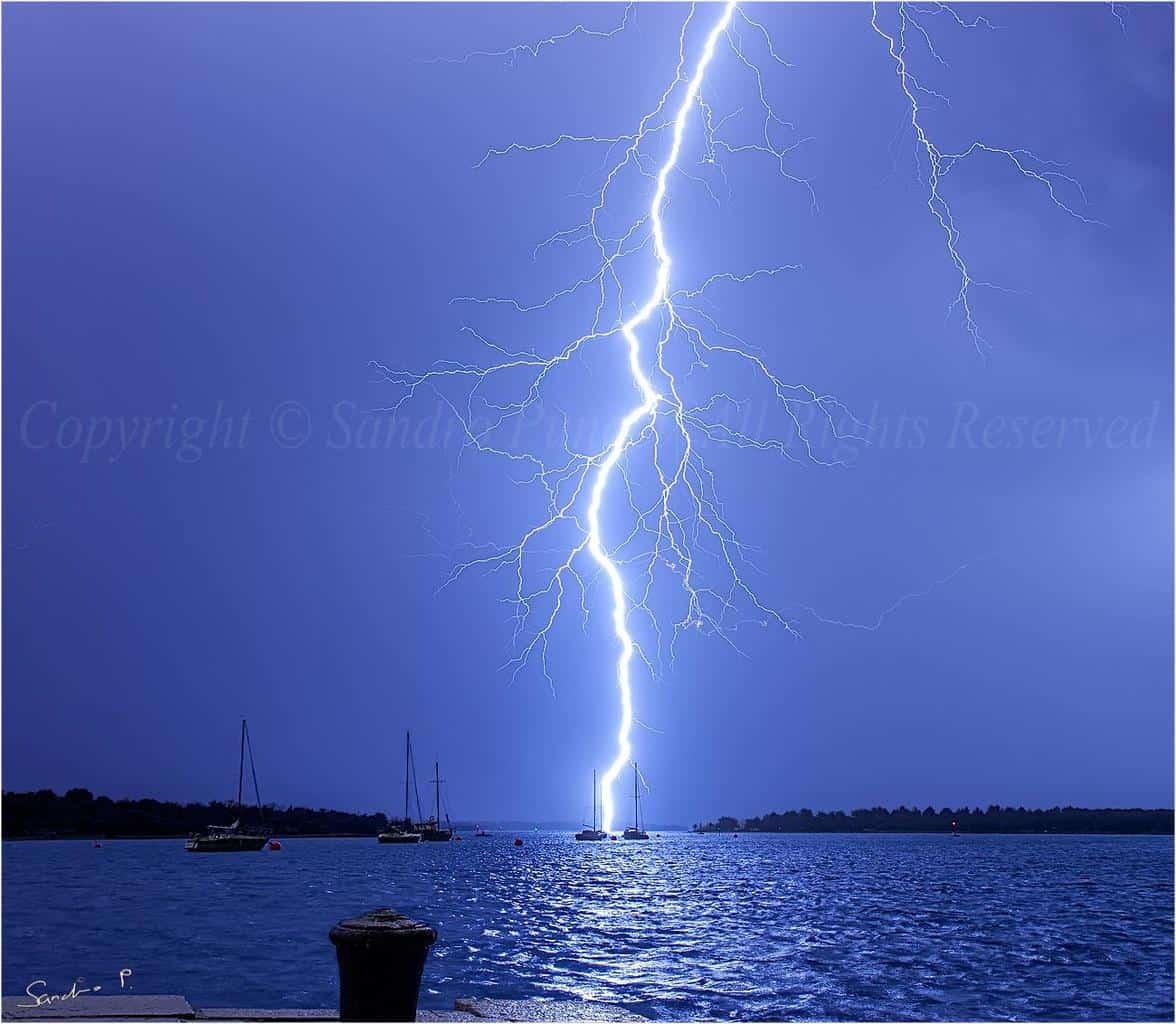 Very close lightning... 28.2.2014. island Lošinj, Croatia