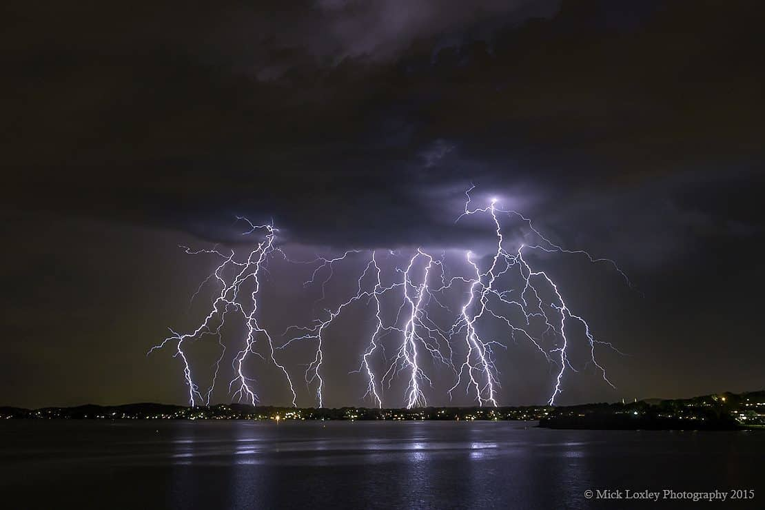4 image stack from an amazing storm that passed over Lake Macquarie, Newcastle Australia last night. I got there in time to watch the first bolt drop, the view of it from this location was simply stunning