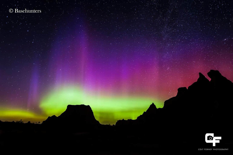 Sept 7, 2015 Badlands Nat'l Park, SD  Surprise auroras while camping in the Badlands!