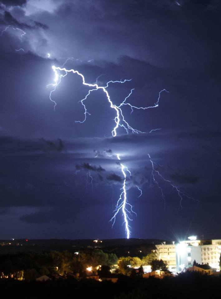 Positive thunderbolt over South Istria. Aug, 21, 2014.