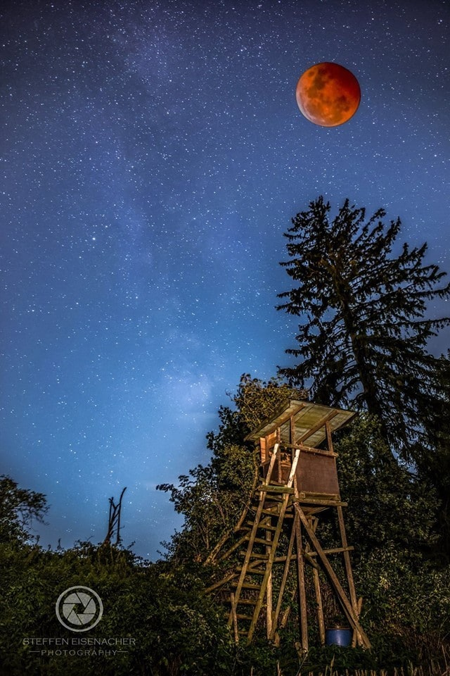 """""""Hunting for the blood moon"""" I took this shot of the Super Blood Moon yesterday in southern Germany.  This is a composition, of course!"""