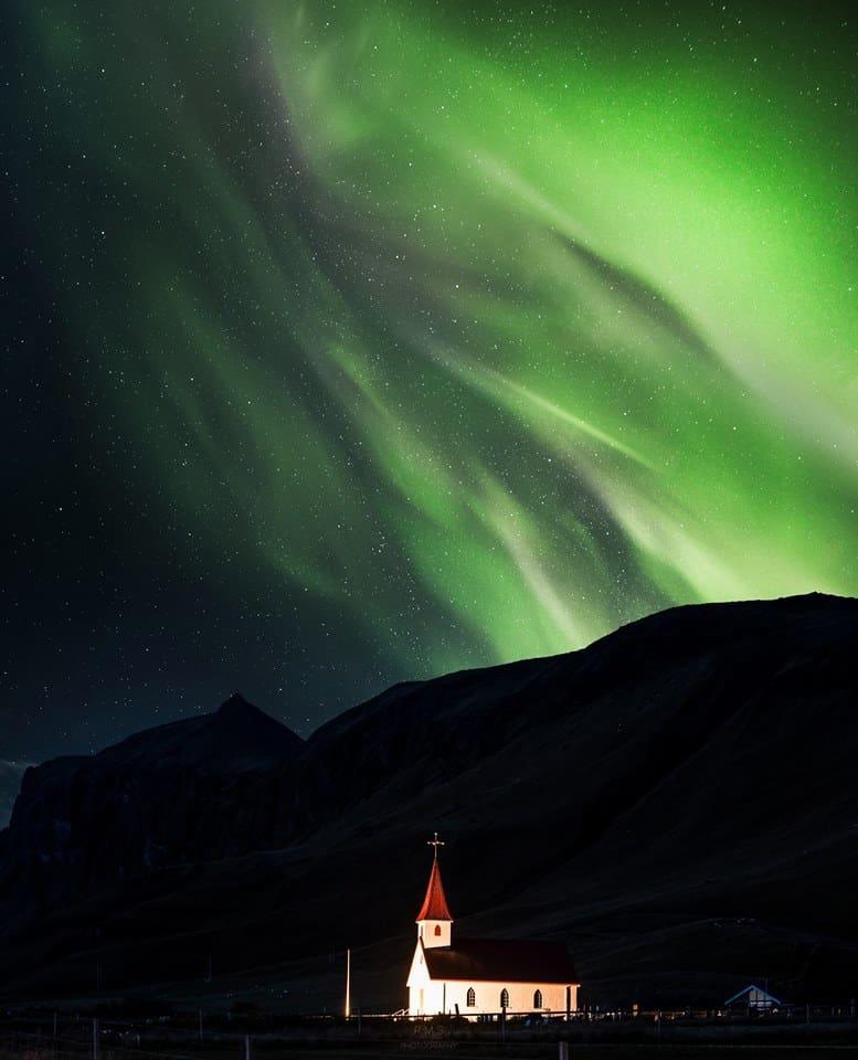 Aurora over Vik, Iceland.