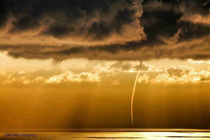 Good morning.. Waterspouts off the coast of Lipari