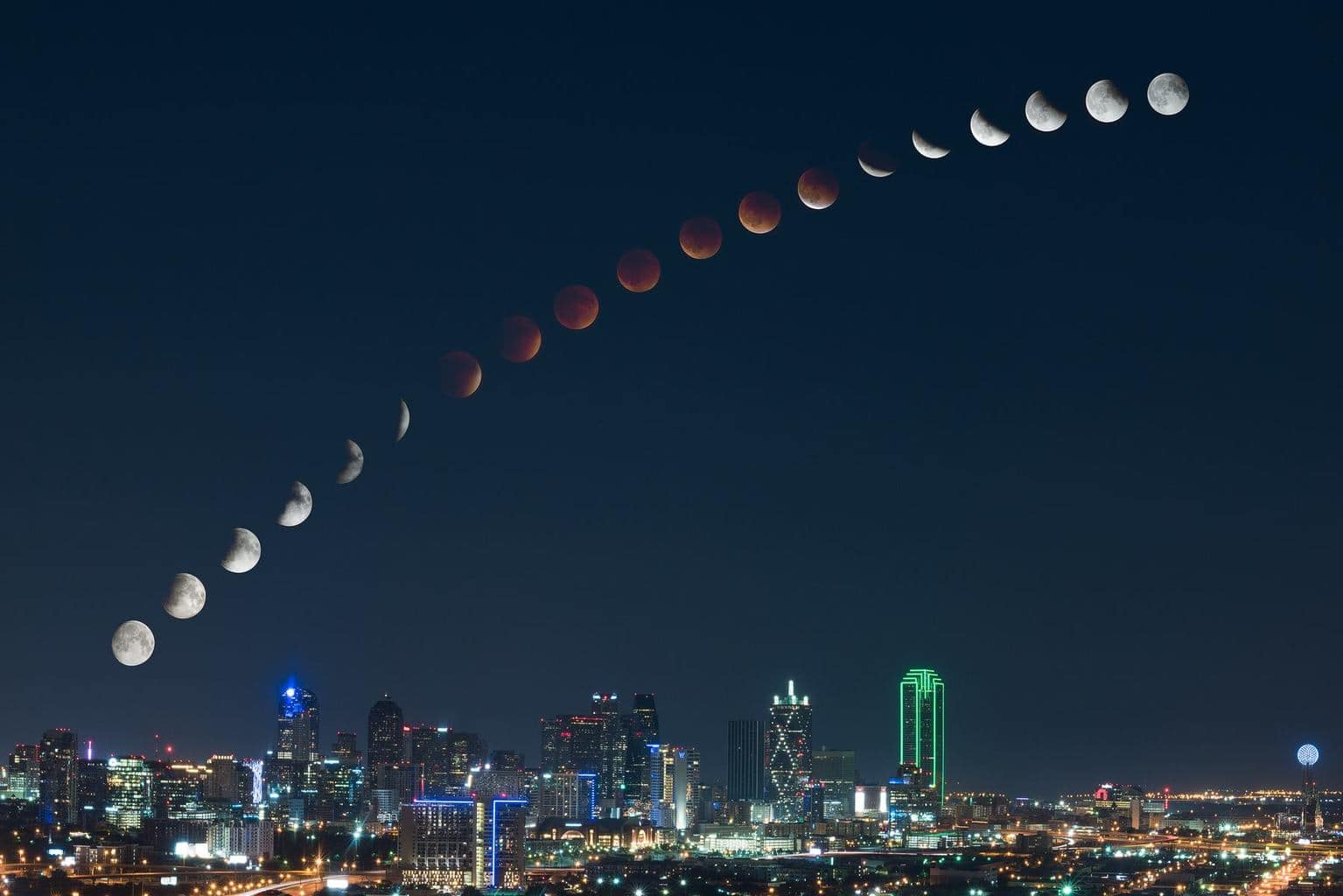 After spending 5 hours on a rooftop with an incredible view of Dallas, I was able to create this composite image showing the moon transition from full moon, to full lunar eclipse, and back. Each moon image was shot approximately 10 minutes apart to capture the entire transition. I hope you all enjoy! Feel free to share!