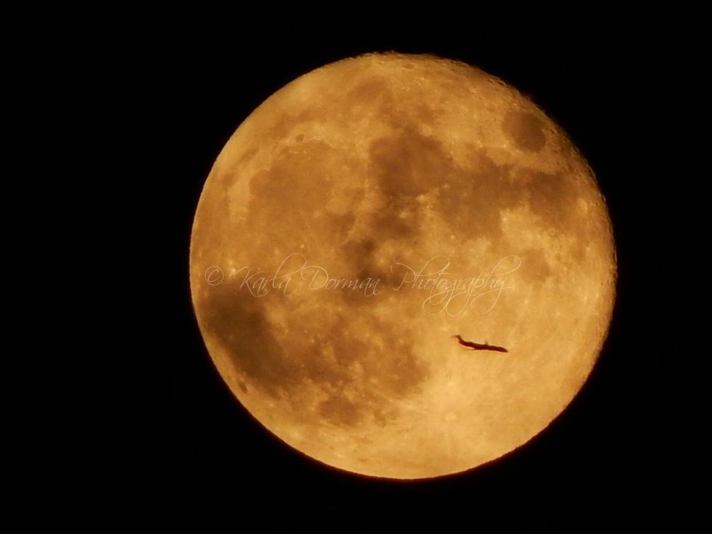 Today's post: Happy accident, or perfect timing? (Think a little of both.) Plane flies in front of the Waning Gibbous (98% of full) moon over Burleson, TX this evening, 9-28-15. Hope you like it as much as I do! =] (Image © Karla Dorman, copyright and watermark added.)