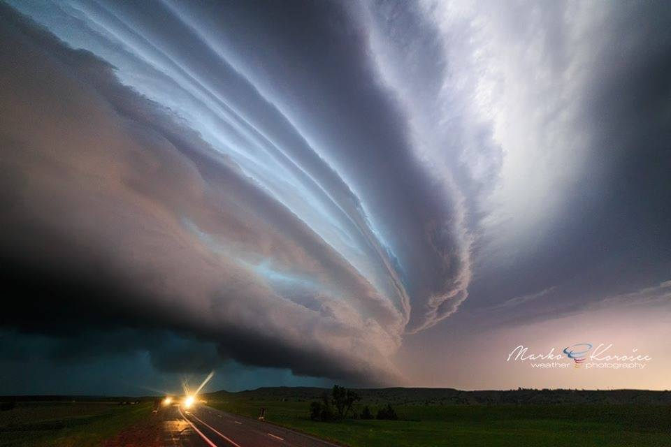 Striated nighttime supercell near Murdo, SD - June 19th, 2015.