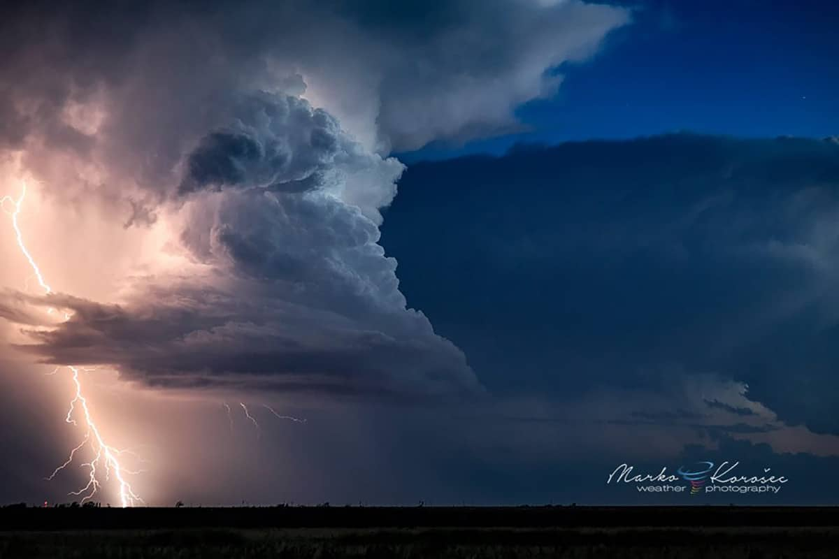 An LP supercell with a CG lightning strike west of Lubbock, Texas. Shot after sunset during the blue hour on June 12th, 2015.