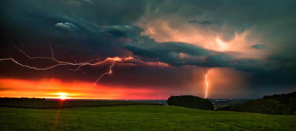 """Sunset Lightning"" Henry Chapelle, Belgium"