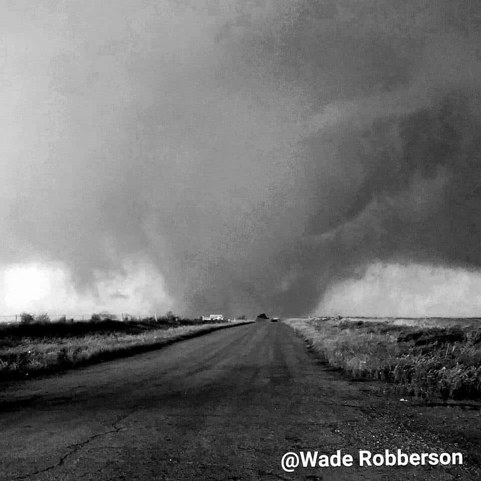 Elmer, OK tornado as it crossed the country rd. In black and white 5/16/15 w/ Mike Prendergast and Luke Blair
