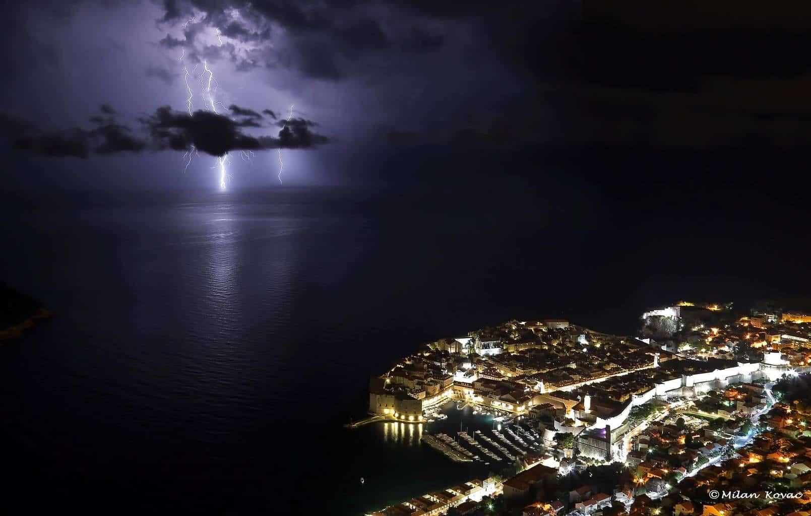 Dubrovnik last night.Lightning at sea.