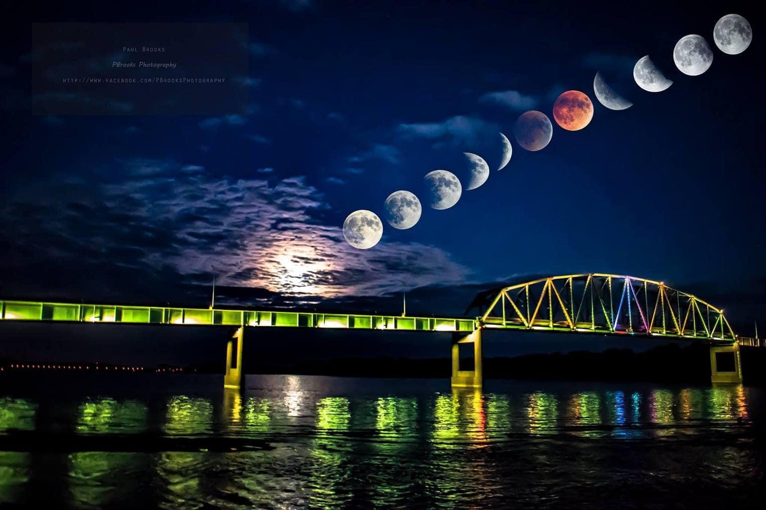 My composite from Muscatine,Iowa. Moon is about 5% bigger by scale than actuality, to show details.