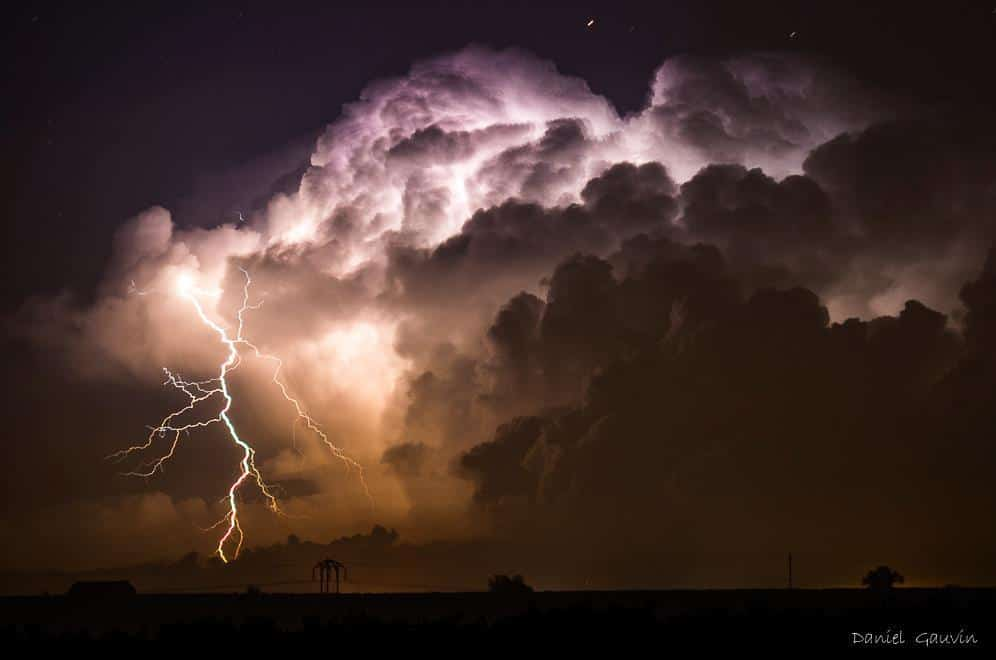 """Extra cloud to ground lightning in Hérault (France), 09/13/2015. I watched this """"cevenol storm"""" from distance , about almost 50 miles ."""