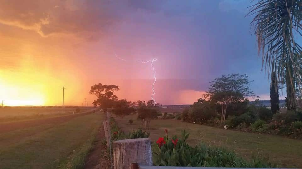 This storm is over our house now. This evening sunset was beautiful. A few direct hits to trees around our house. East of Warwick Qld Australia