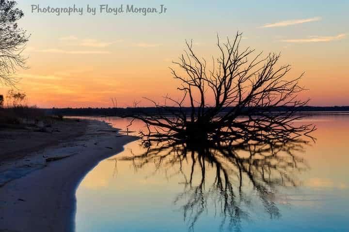Sunset on lake eufaula in Oklahoma