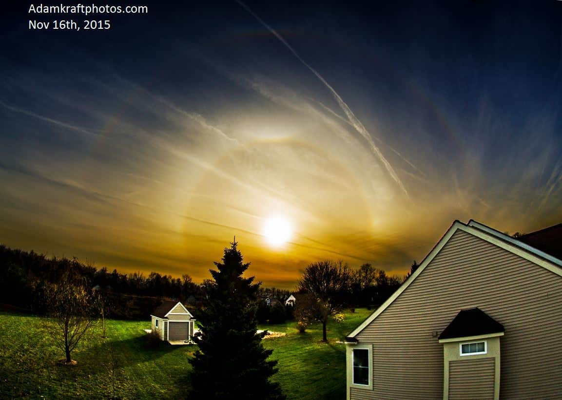 Great halo display today in Spring Arbor MI with a 22 degree halo, full Supralateral arc( furthest arc), 2 sundogs(left and right of the sun), circumzenithal arc(highest arc) and upper tangent arc*top of the 22 degree halo)