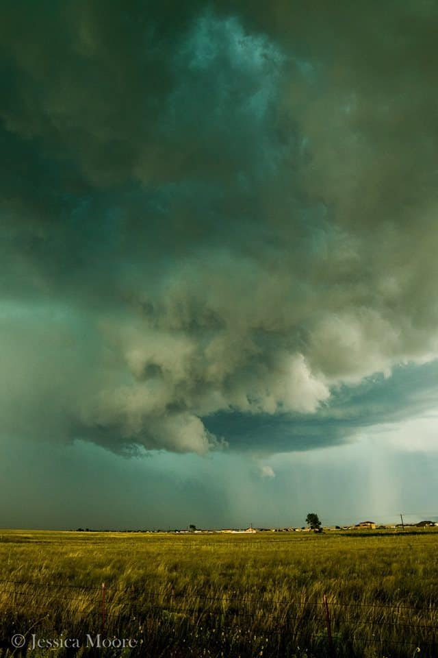 One of my favorite solo chases of the year. This tornado warned cell had a nice funnel on it for a few minutes before it fell apart. Only have a cell phone pic of the funnel though. Peyton, CO - 8/17/15