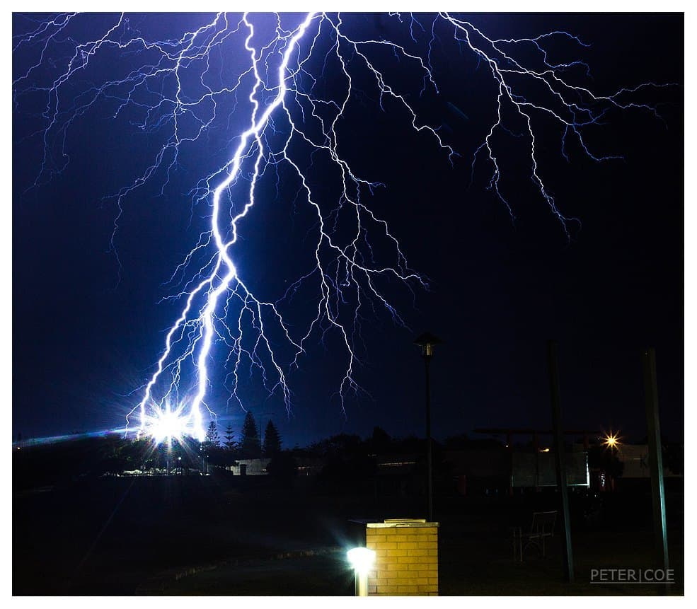 A massive discharge of lightning over Bunbury, Western Australia on the 14/11/2015. Gunshot, crackling thunder followed almost instantly. Canon 600D | Canon 35 - 105mm @ 35mm | f16 | 30s