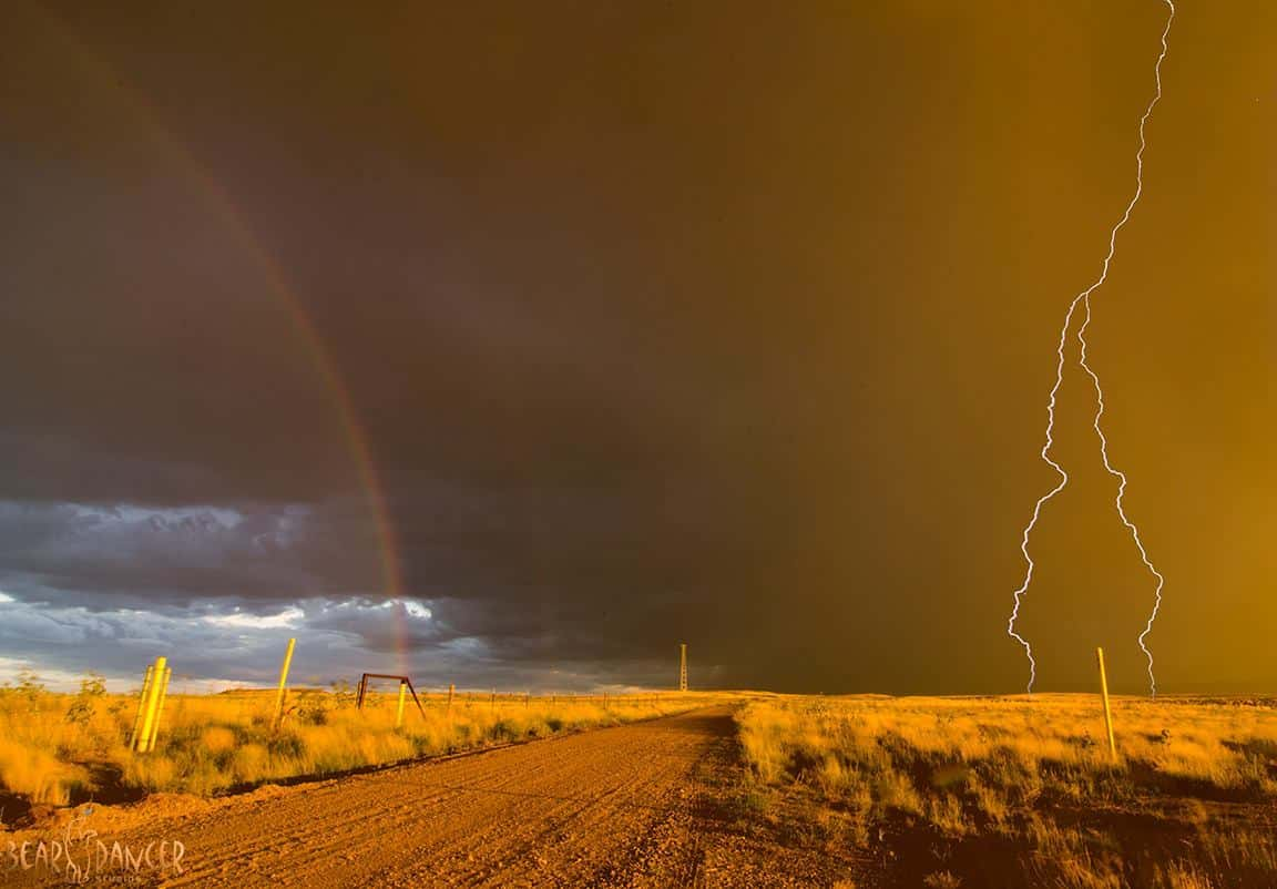 Rainbow and lightning - near Trinidad, CO in July of 2015.