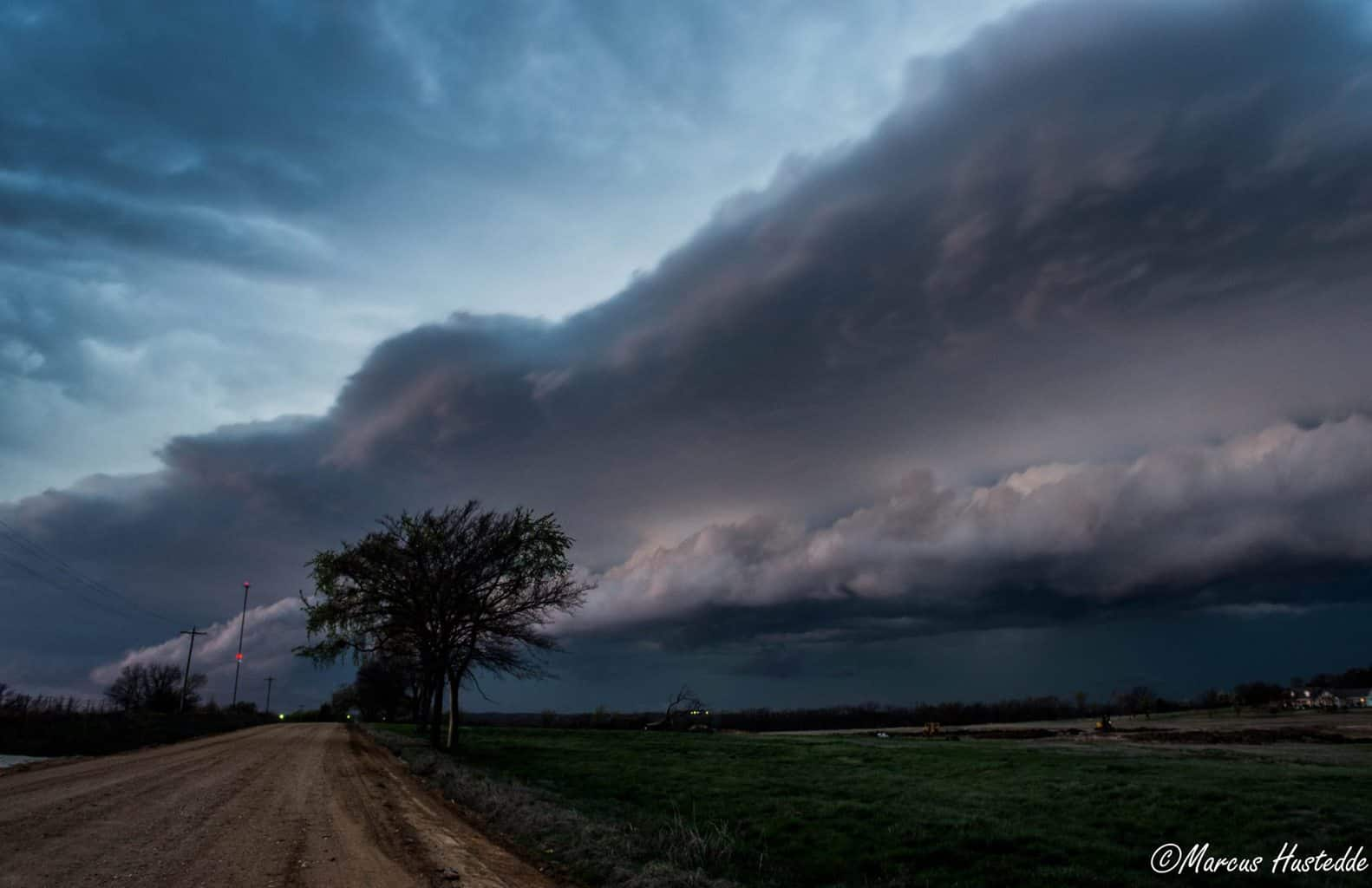 Shelf cloud at the blue hour in eastern Oklahoma on March 25, 2015