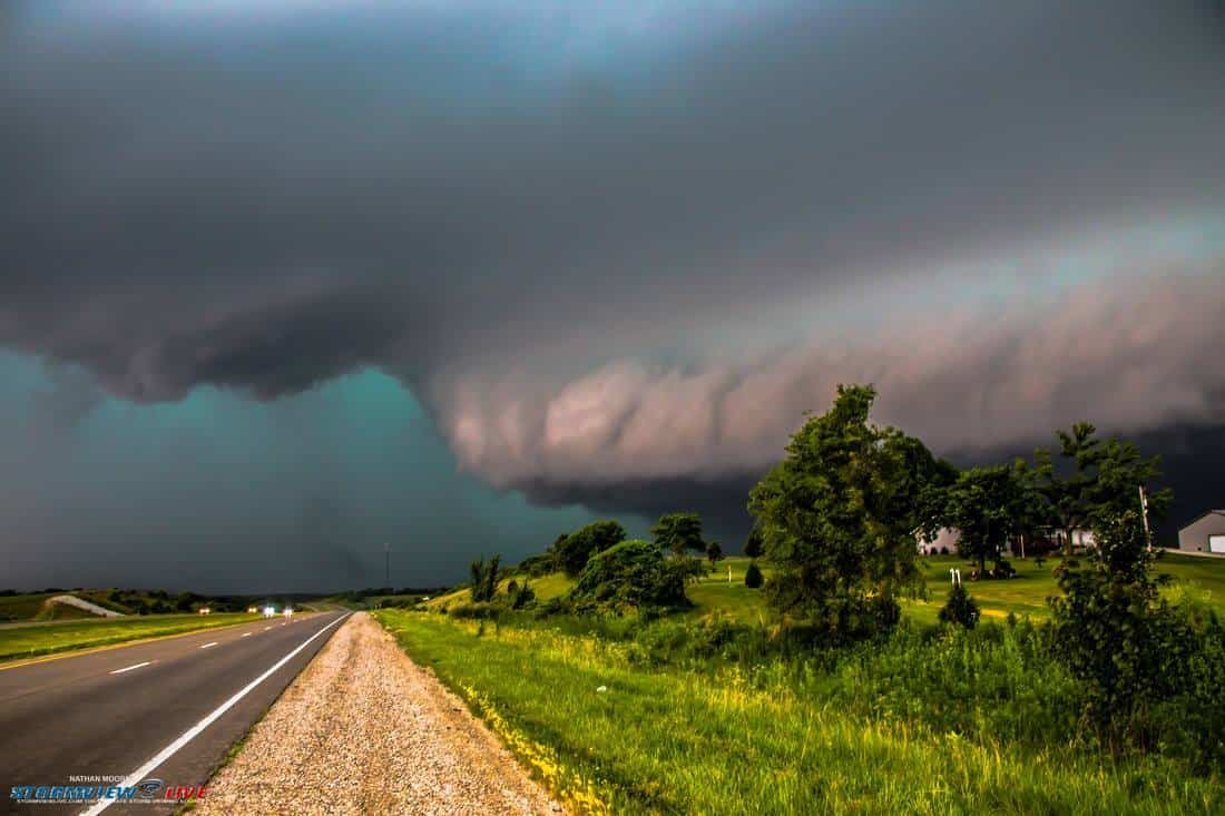June 20th near Oskaloosa, Iowa.. This severe storm was coming in fast and hard and had baseball sized hail, 110mph winds, and intense rain. The house on the right was just about ready to get smoked..