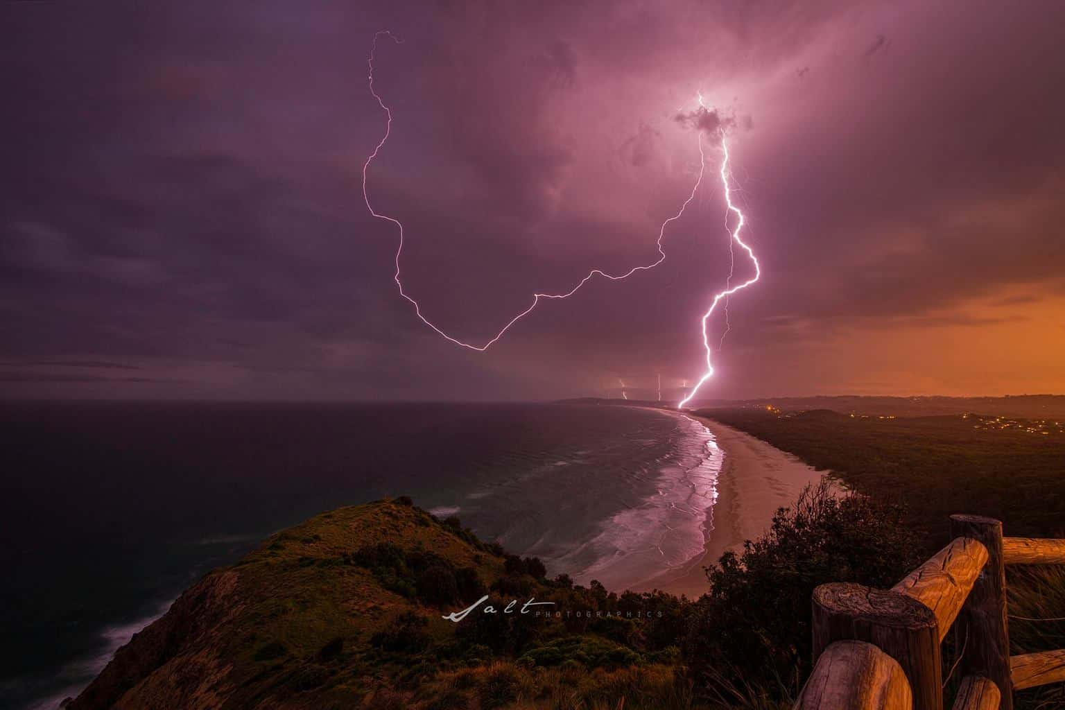 Byron Bay, QLD Australia. awesome chase Lucky we stayed for sunset otherwise I wouldn't have this bolt to show. So stoked....