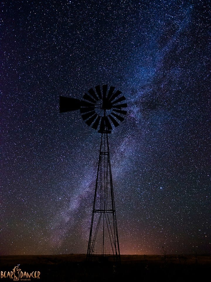 The Milky Way silhouettes a windmill near Taylor Springs, NM in September of 2015.