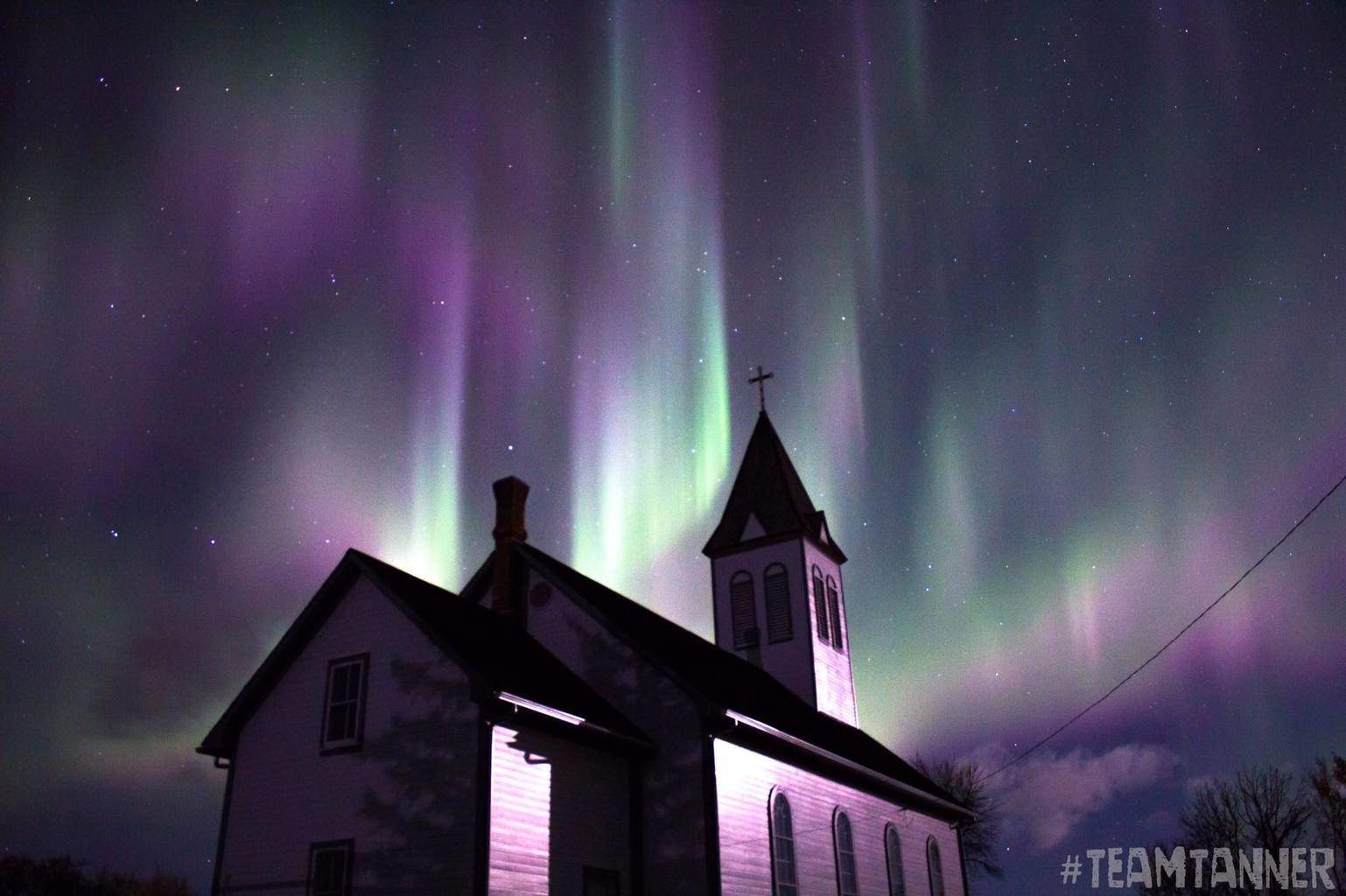 Halloween Tribute. This was captured in Northern Alberta, Canada on October 4/15. It was amazing to see this dancing and swirling above this Historical Church.