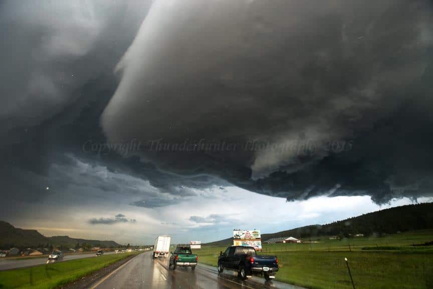 This was our view as we emerged through the hail core and saw the almighty structure above our heads. Large hail was still falling at this point but the show had only just begun! Rapid City - June 1st 2015.