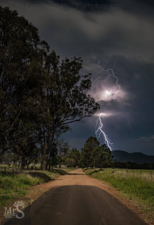 !!! End of the Line !!! A made dash late at night Thursday 26th Nov to Moogerah Qld Australia gave me a perfect view for a passing storm south of me. In the middle of nowhere I watched as mother nature put on an amazing show. I did decide NOT to go down this road after 5 of these style strikes lol.