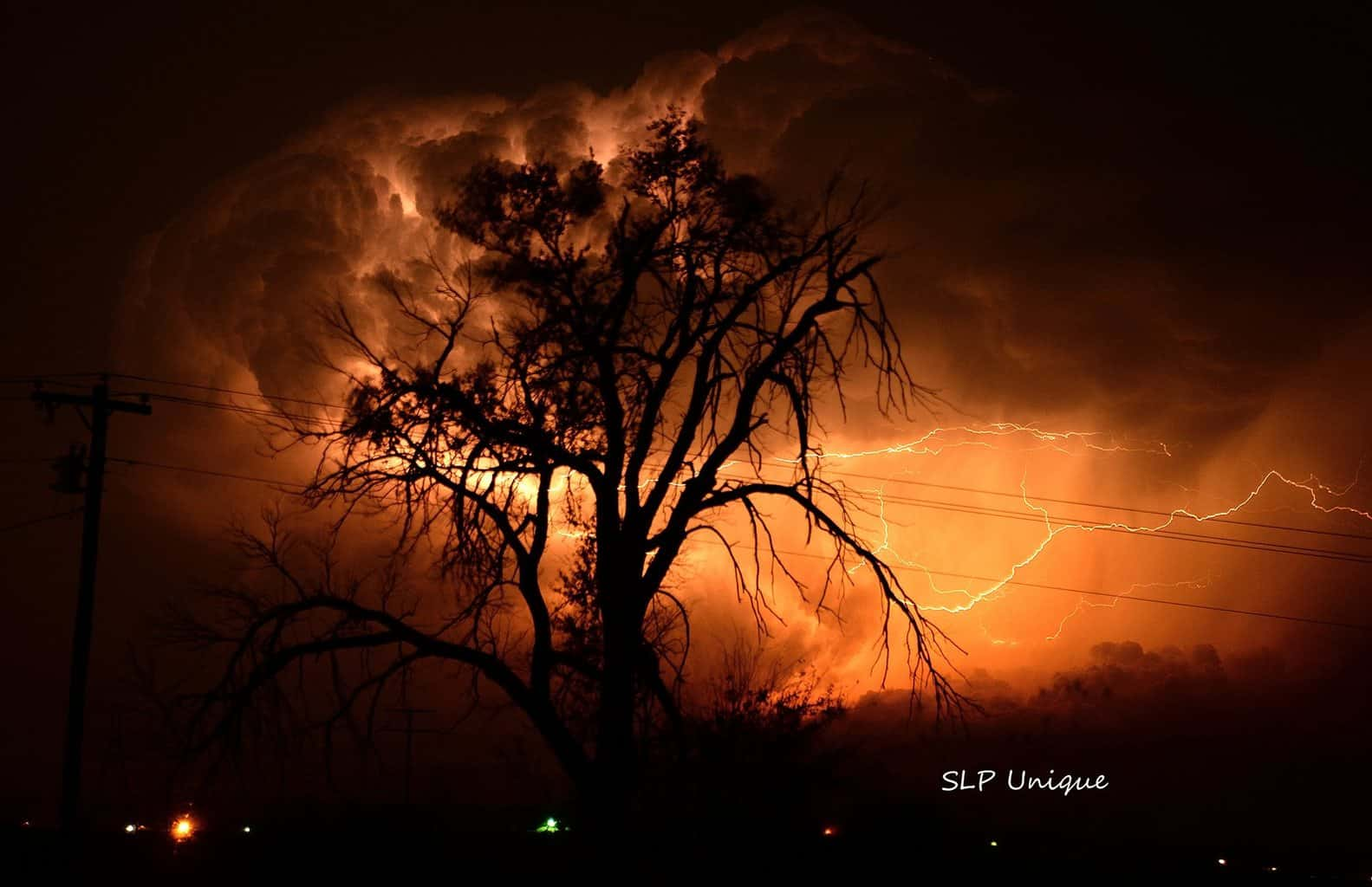 Beautiful lightning show at the back end of the super cell that produced the tornado in Pampa, Tx tonight 11/16/15. Not a stacked image.