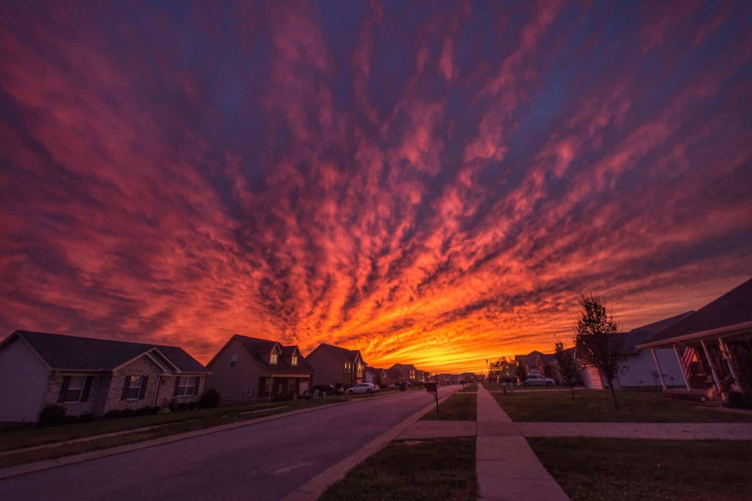 Sunset this November 1st in Mount Washington, Kentucky