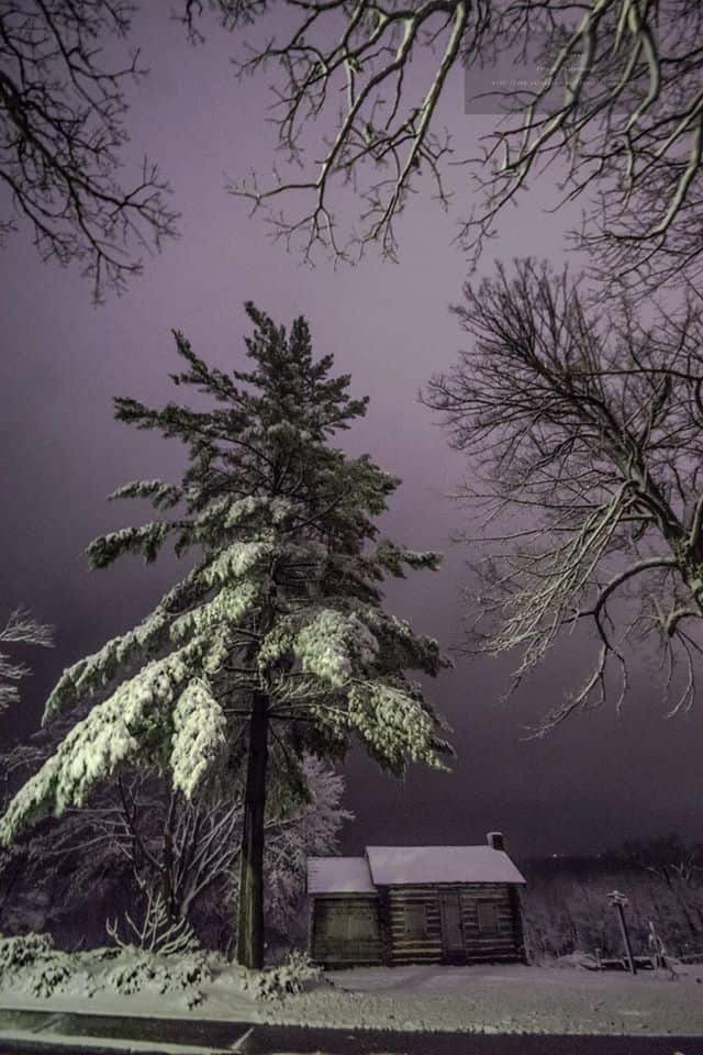 "Photo from last night around midnight at Weed Park in Muscatine, Iowa. This was taken after just over 2"" of accumulation, and we are now at 12"" and still snowing at about a 1""/hr rate."