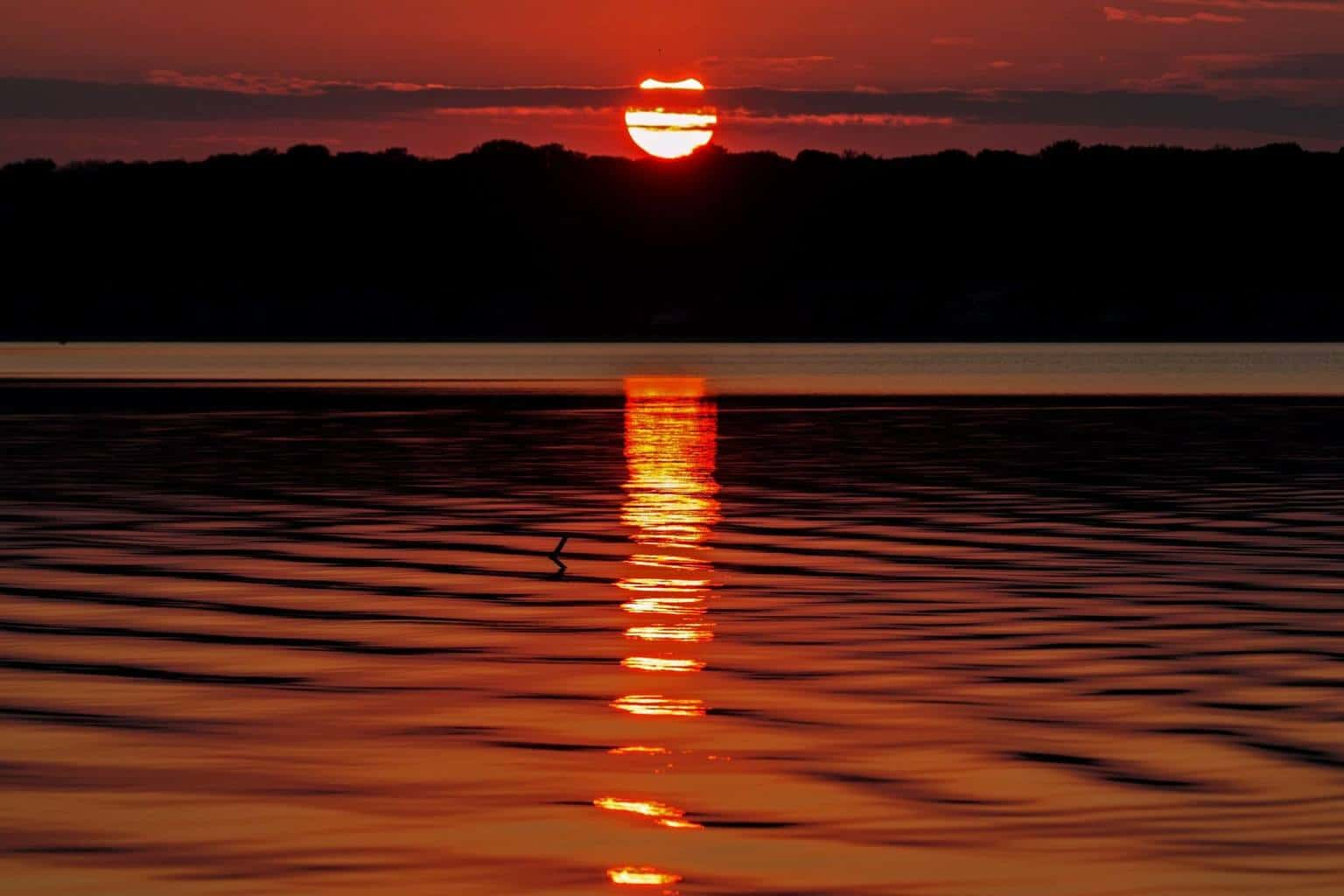 Partial solar eclipse that occurred just before sunset on October 23, 2014 (Note the notch at the top of the sun). Photo taken at Leona Park on Lake Belton in Central Texas.