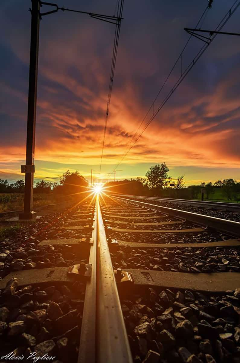 Sunset on the rails next to Lyon in France.