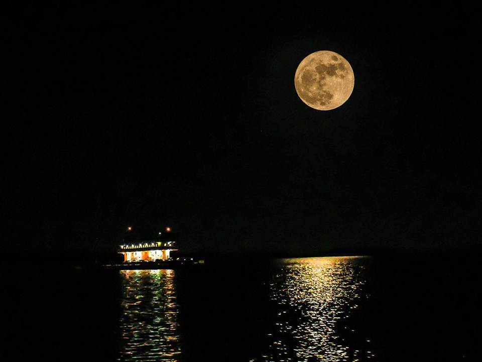 If it doesn't fit, delete it, but wanted to share my full moon pic from last night. I took one photo with 18-55mm lens, while on the Surry, used graduated Neutral Density filters to stop the moon down, and get an exposed shot of the Pocahontas and the reflection on the water. After I got off the ferry, I used a 75-300mm lens and got a focused shot of the moon. I lined the moon up in both shots with my upper right horizontal and vertical grid lined. I edited both pictures separately, then stacked the two photos together. Hindsight is 20/20. I will use my 55-250mm lens to get a closer shot of the other ferry to make my subject larger, which should result in a better shot. Happy Thanksgiving everybody, thanks for the likes and comments. For more awesome pics, follow me Southampton County, Va. Weather and Photography
