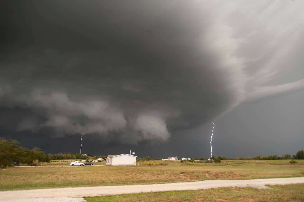 Winfield, KS, Sept 2010. Produced 2 tornadoes and we were in between them. Hid in the storm shelter for quite some time. Quite a bit of damage in places. Luckily our 5th wheel was still in the driveway, but it had been moved and it was a big, heavy RV