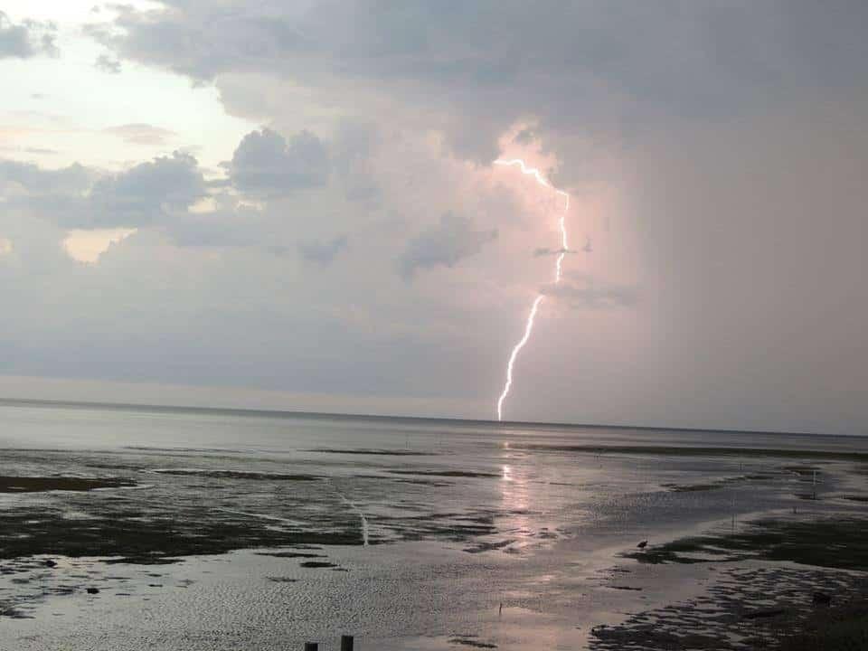My very first lightening strike caught on fiim - taken in Keaton Beach,Fl. 08/2014