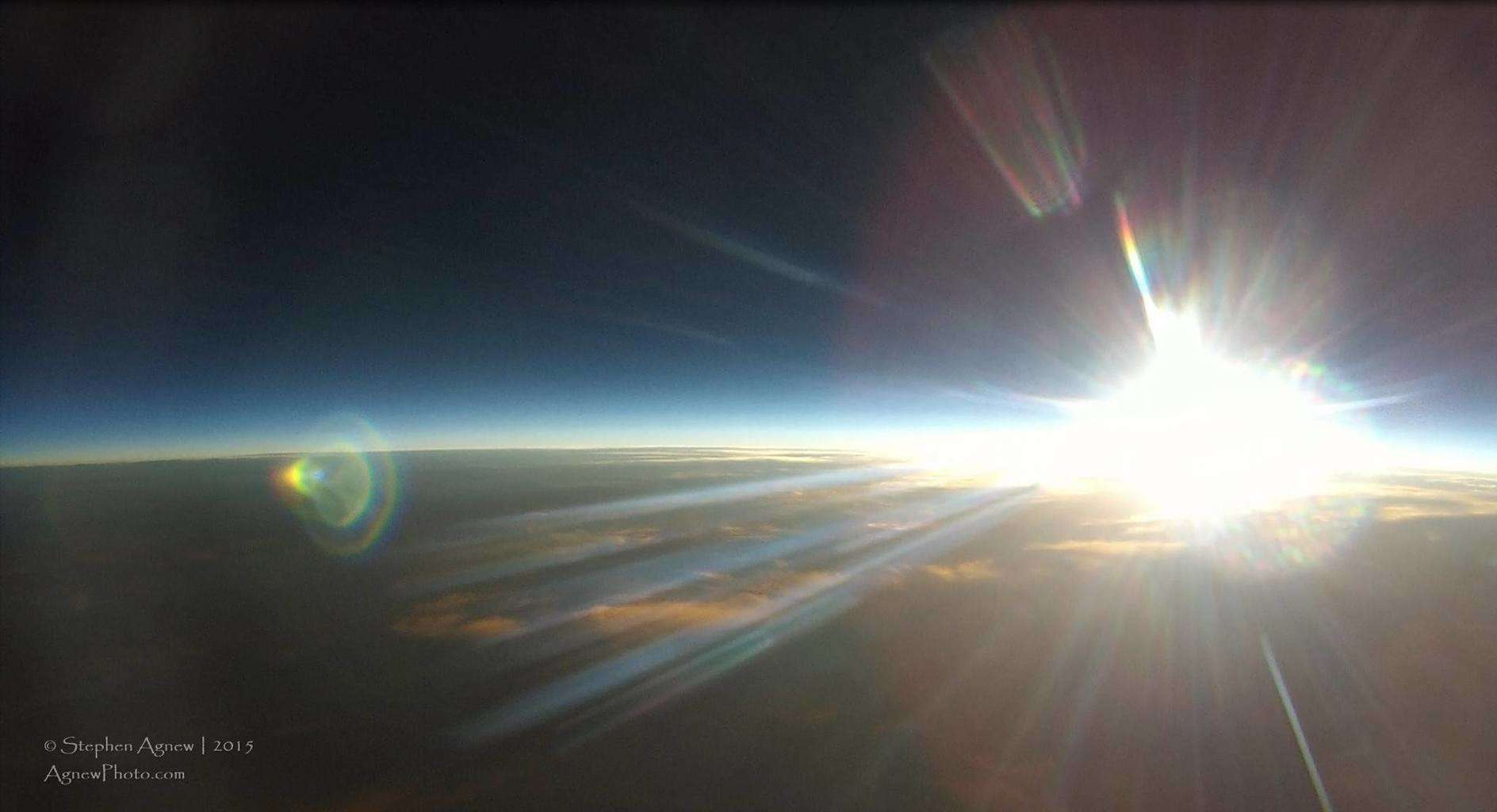 Sunset over the Earth in space. Since weather photos are allowed, what's more 'weather' than the entire Earth? This was taken from a GoPro attached to our weather balloon in July 2014.