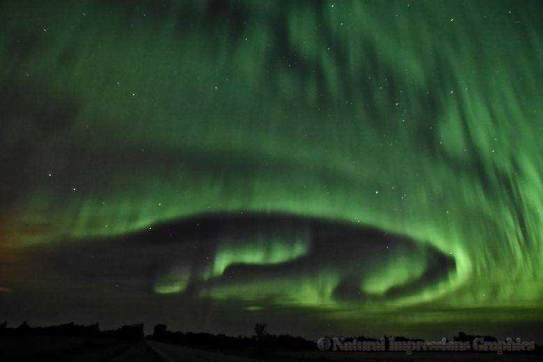 """Mothership"" The Aurora made an arc that appeared a bit like a large spaceship to my daughter. Taken this summer east of Edmonton, Alberta, Canada . It is so very amazing how the Aurora can move and change so fast , so very blessed to live where I can see them,. more pictures at"