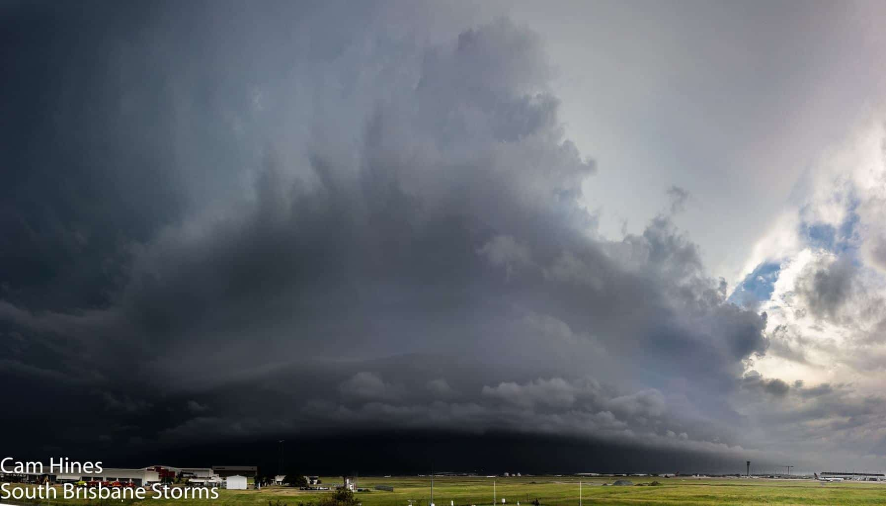 Large and dangerous HP supercell approaching Brisbane Airport, Australia last Sunday afternoon. This storm caused some significant damage around the suburbs of Brisbane which is a city of over 2 million people.